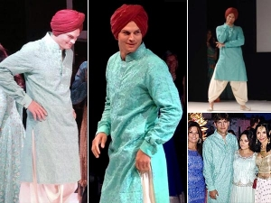 Ashton Kutcher In Indian Clothing With Pregnant Mila Kunis