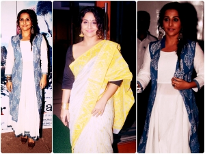 Vidya Balan In White Saree Anarkali