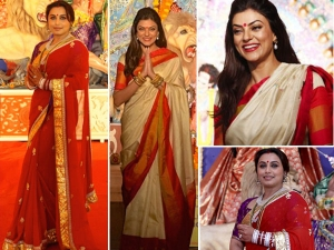 Rani Mukerji Sushmita Sen In Saree Durga Puja Special
