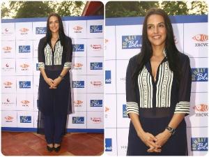Neha Dhupia Looks Marvellous In Manish Malhotra See Through Tunic Dress