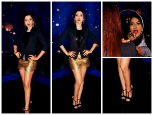 Gauahar Khan Dazzles In Gold Shorts For Raw Star 10 Episode