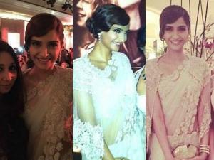 Sonam Kapoor Retro Saree Style At Bvlgari India Launch