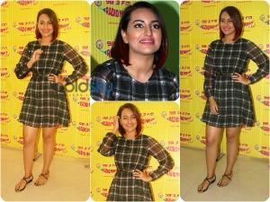Sonakshi Sinha Enhances Her Red Hair With A Plaid Dress