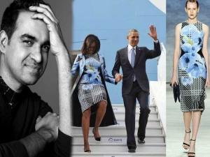 Michelle Obama Bibhu Mohapatra Dress India Visit