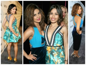 Vanity Fair 2015 Priyanka Chopra And Freida Pinto On Red Carpet