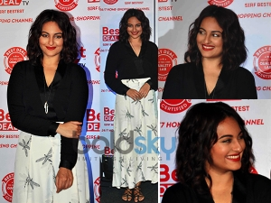 Summery Look Sonakshi Sinha In Printed Skirt And Black Shirt