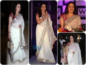 Hema Malini Looks Fierce In Red And White Saree