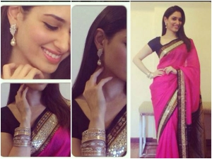 Tamannaah Bhatia Blushes Sweetly In Neeta Lulla Saree