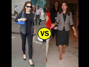 Madhuri Dixit's Travel Look Vs Work Look