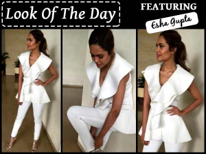 Look Of The Day Esha Gupta In White For Rustom Promotions