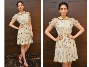 Tamannaah Bhatia Promoting Okkadochadu Wearing Tommy Hilfiger