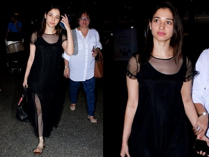 Tamannaah Bhatia Wearing Black Spotted At Airport