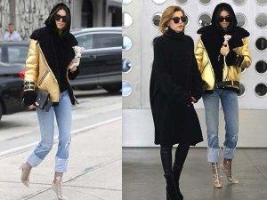 Kendall Jenner Spotted In Black Velvet Pullover Golden Jacket