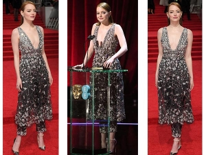 Emma Stone Red Carpet Look Bafta Awards