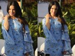 Sunny Leone Goes Stylish In A Light Blue Attire