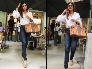 Shilpa Shetty Goes Casual At Kitchen Garden