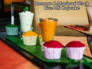 Beetroot Black Rice Idli Cupcake