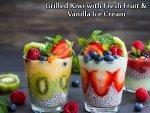 Grilled Kiwi With Fresh Fruits And Vanilla Ice Cream