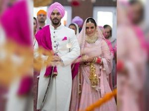 Neha Dhupia Looks Like Dream Her Pink Wedding Lehenga