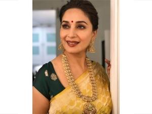 Madhuri Dixit Ethnic Saree Look Ganesh Chaturthi Festival