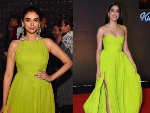 Janhvi Kapoor Green Gown Kuch Kuch Hota Celebration Event