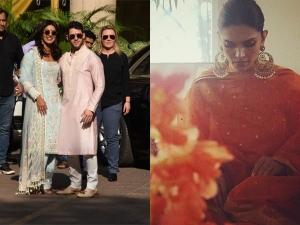 Deepika Priyanka Pre Wedding Pooja Ceremony Outfits