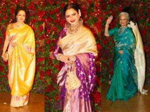 Rekha Waheeda Rehman Hema Malini Saris At Deepveer S Reception