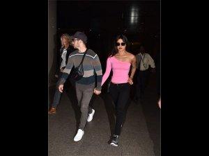 Priyanka Nick Bright Muted Airport Outfits