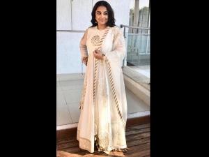 Vidya Balan Opts An Ivory Outfit Press Conference Tirupati