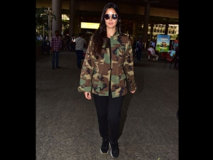 Katrina Kaif Spotted At The Airport A Military Look