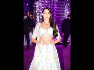 Nora Fatehi Spotted A Floral Lehenga At Sangeet Ceremony
