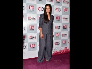 Katrina Kaif A Grey Armani Pantsuit An Event