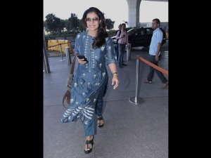 Kajol Spotted At The Airport A Blue Salwar Suit