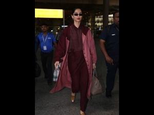 Sonam Kapoor S Maroon Hued Airport Outfit