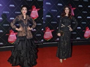 Twinkle Khanna Raveena Tandon Black Outfits At The Nykaa Femina Beauty Awards