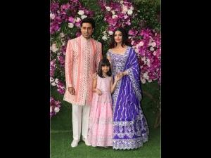 Abhishek Aishwarya Aaradhya Bright Outfits The Wedding