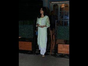 Janhvi Kapoor Spotted A Green White Chikankari Suit