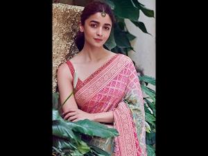Alia Bhatt In A Printed Sari For Kalank Promotions