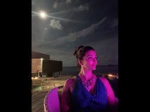 Aishwarya Rai Bachchan In A Blue Gown At Maldives