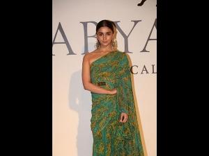 Alia Bhatt In A Printed Sari For The 20 Years Celebration Of Sabyasachi