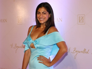 Kubbra Sait In A Blue Dress For A Jewellery Book Launch