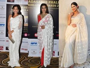 Kubbra Sait Kajol Aahana Kumra In Ivory Saris At The Dadasaheb