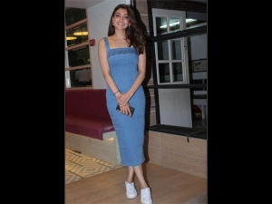 Kajal Aggarwal Spotted In A Denim Dress With Tamannaah Bhatia