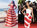 Aishwarya And Zoe Saldana In Candy Cane Dresses At Cannes