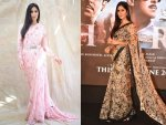 Katrina Kaif In Floral Sabyasachi Saris For Bharat Promotions