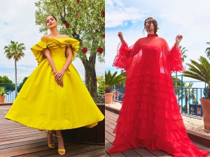 Sonam In Yellow And Red Dresses At Cannes