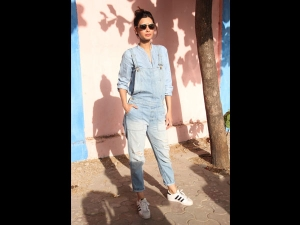 Diana Penty Spotted In Blue Dungarees