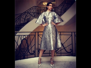 Diana Penty In A Textured Dress At Cannes