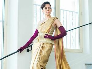 Kangana Ranaut In A Falguni Shane Peacock Sari At Cannes Film