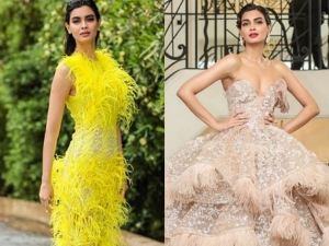 Diany Penty In Feather Inspired Outfits At Cannes